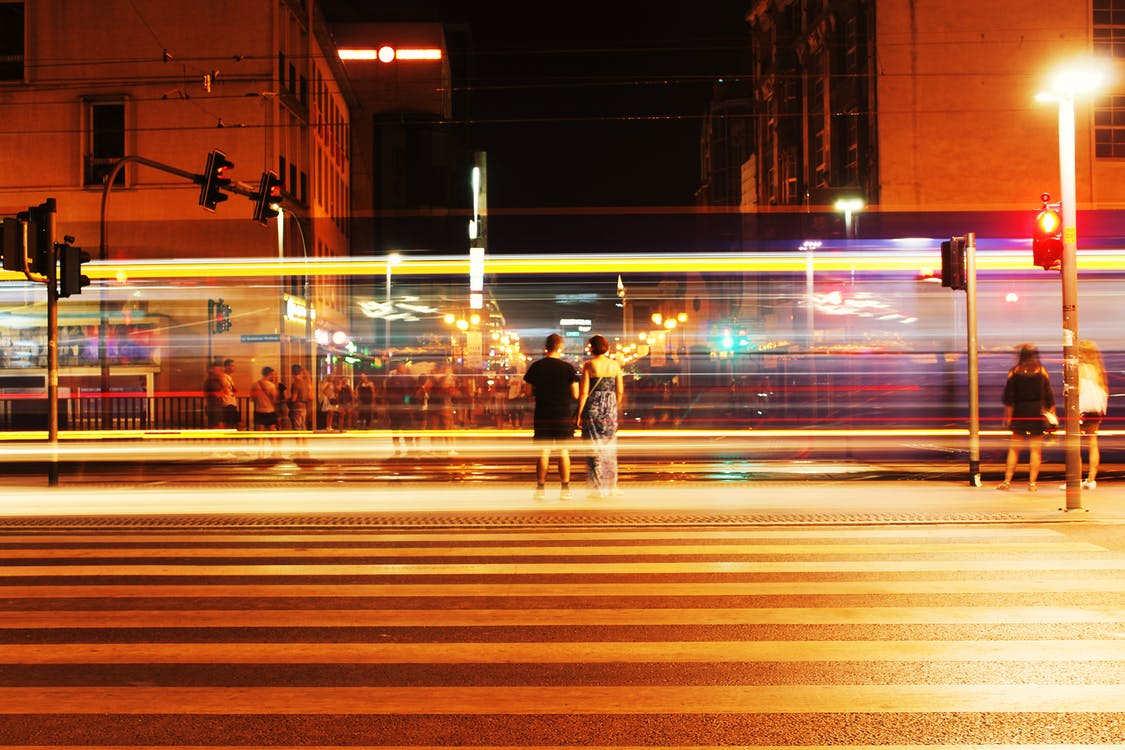 centro da cidade, estrada, exposição longa