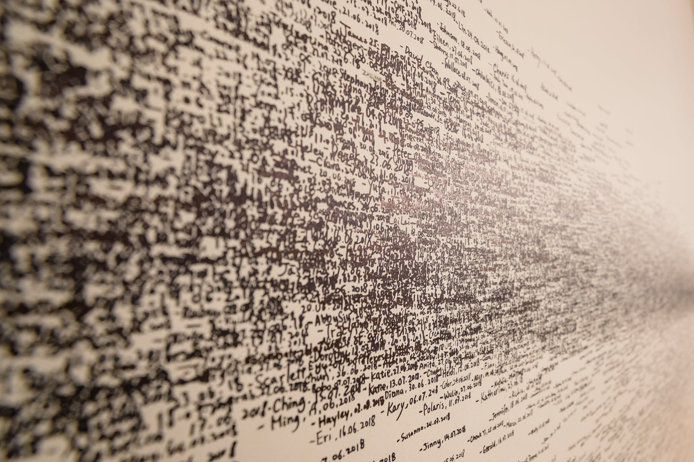 Image of complicated jumble of words written on a wall, depicting the challenge facing Natural Language Processing algorithms.