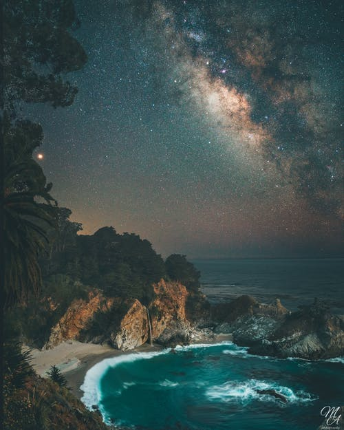 Free stock photo of long exposure, milky way, water fall