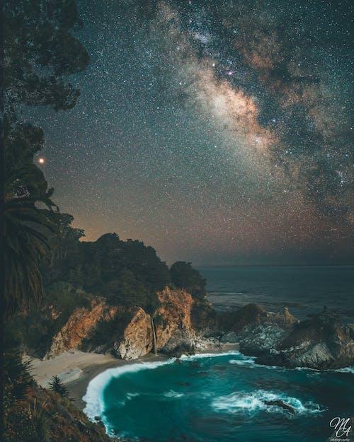 은하수, 장시간 노출, 폭포의 무료 스톡 사진
