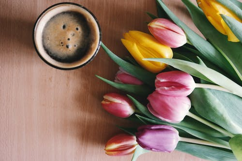 Pink and Yellow Tulips Beside Drinking Glass