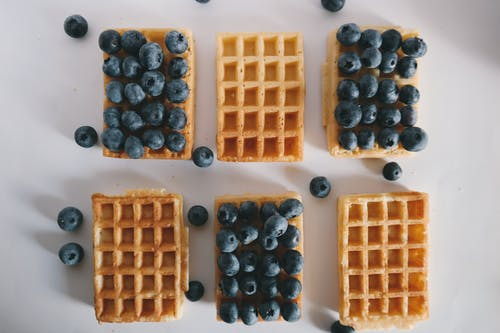 Six Baked Waffles and Blueberries