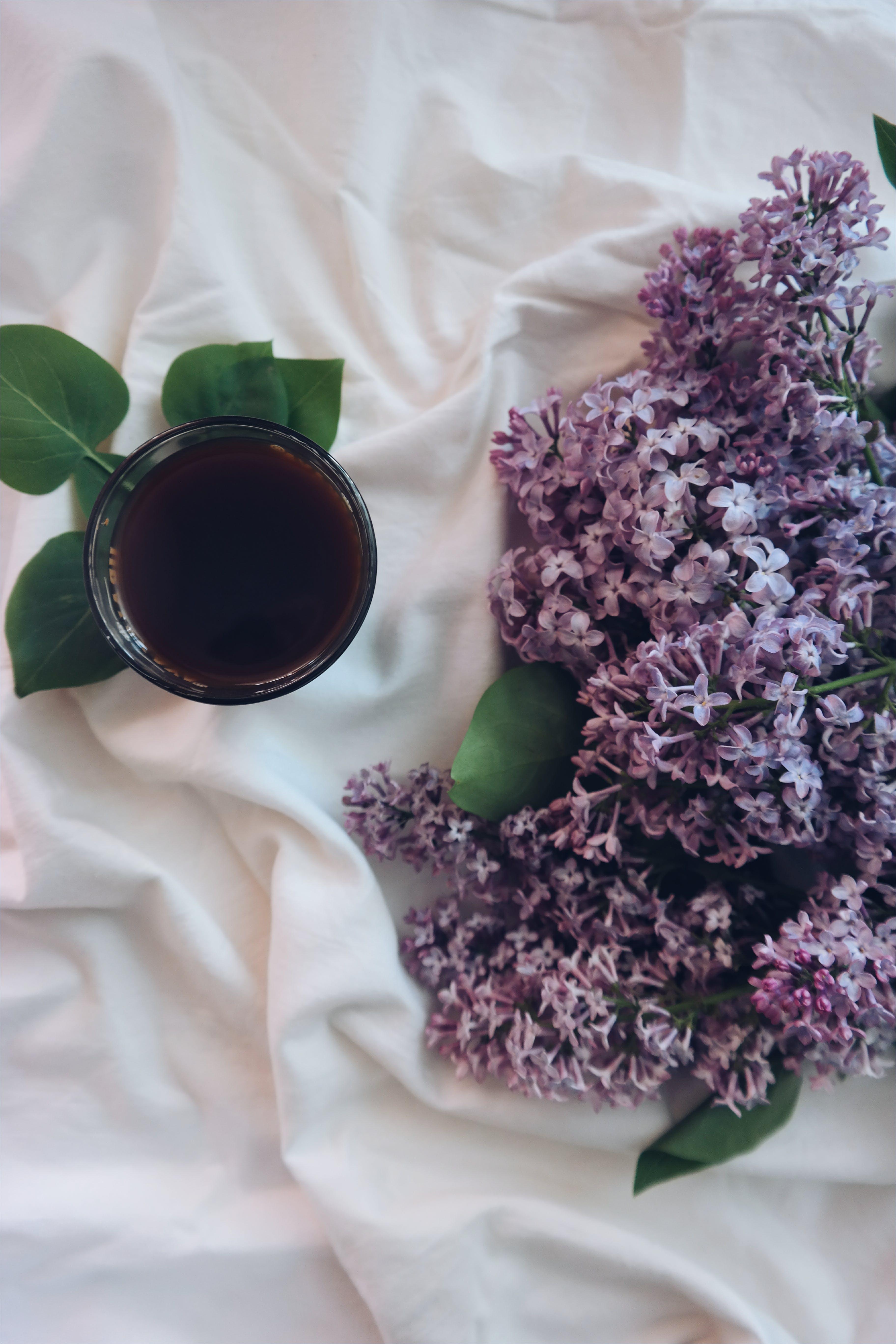 Purple Lavenders on White Textile