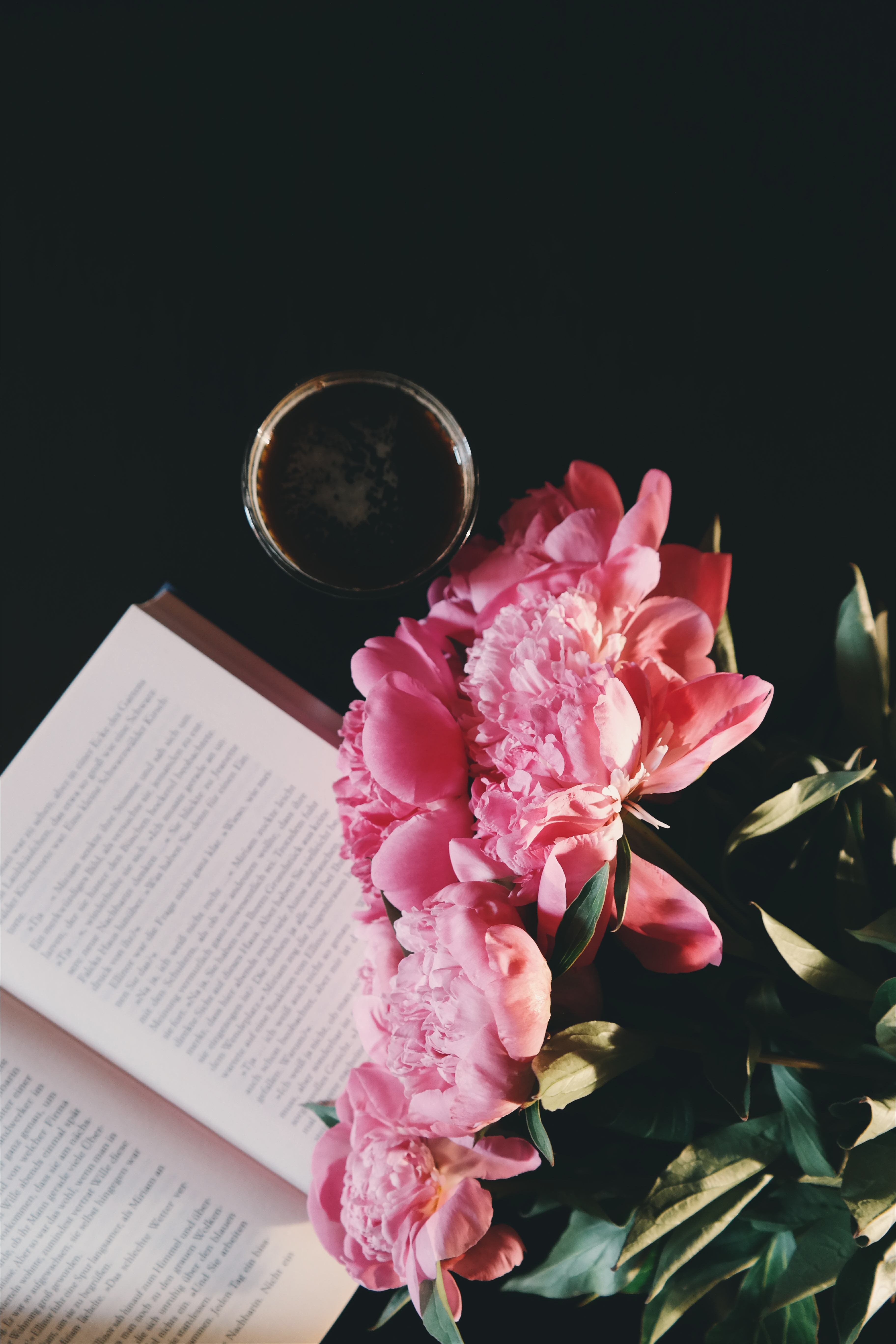 Pink Petaled Flowers Near Opened Book