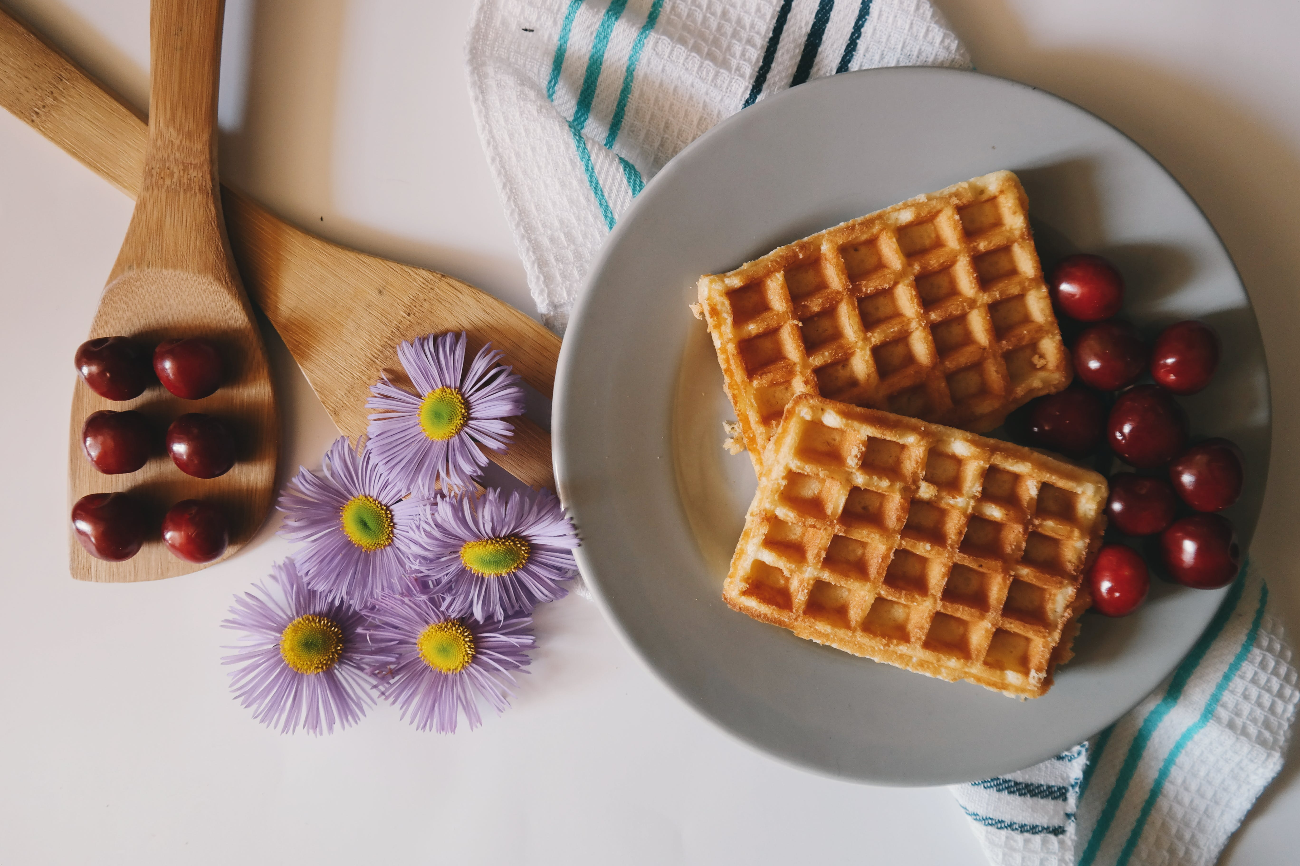 Two Waffles on Plate