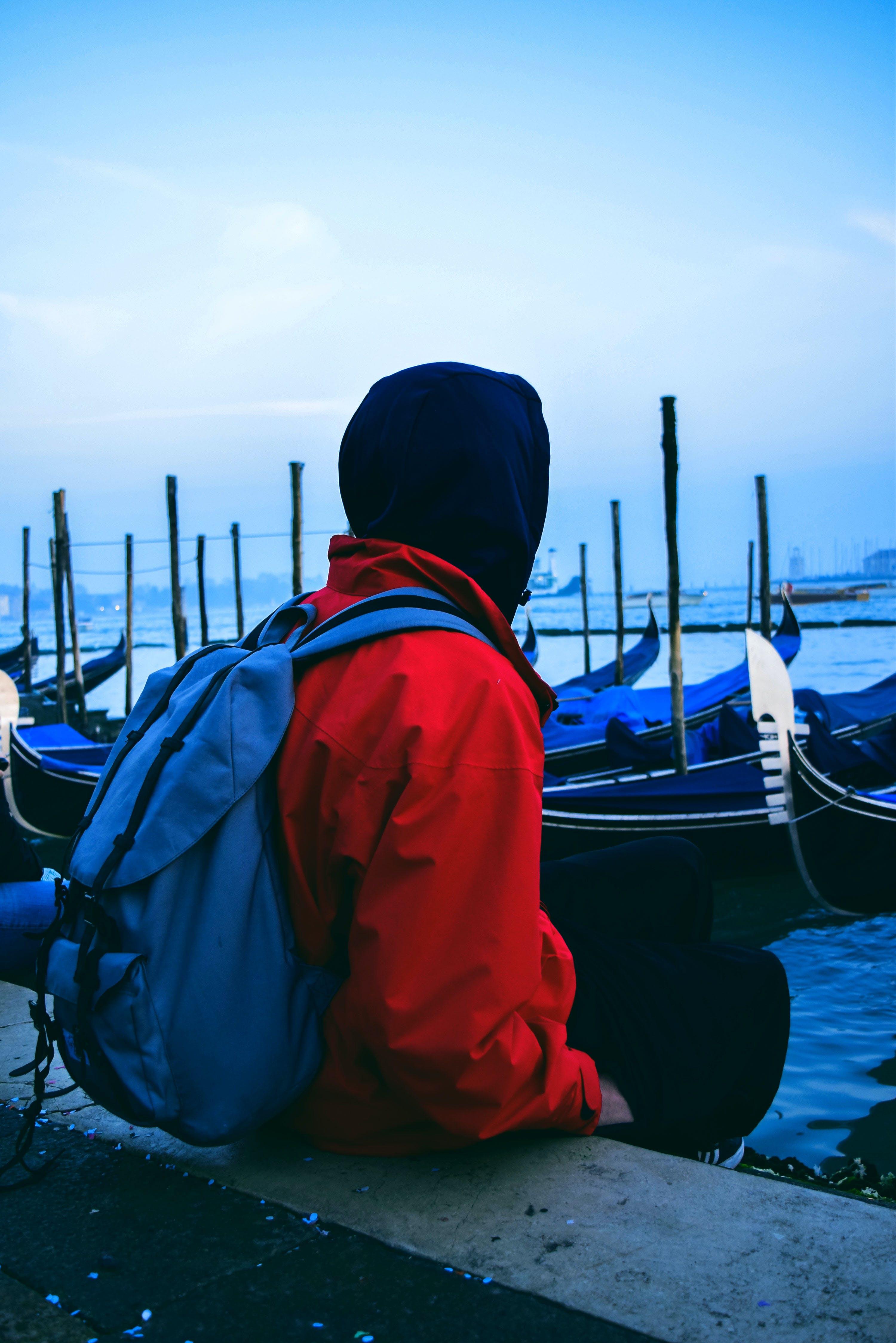 Free stock photo of adventure, alone, bag, blue