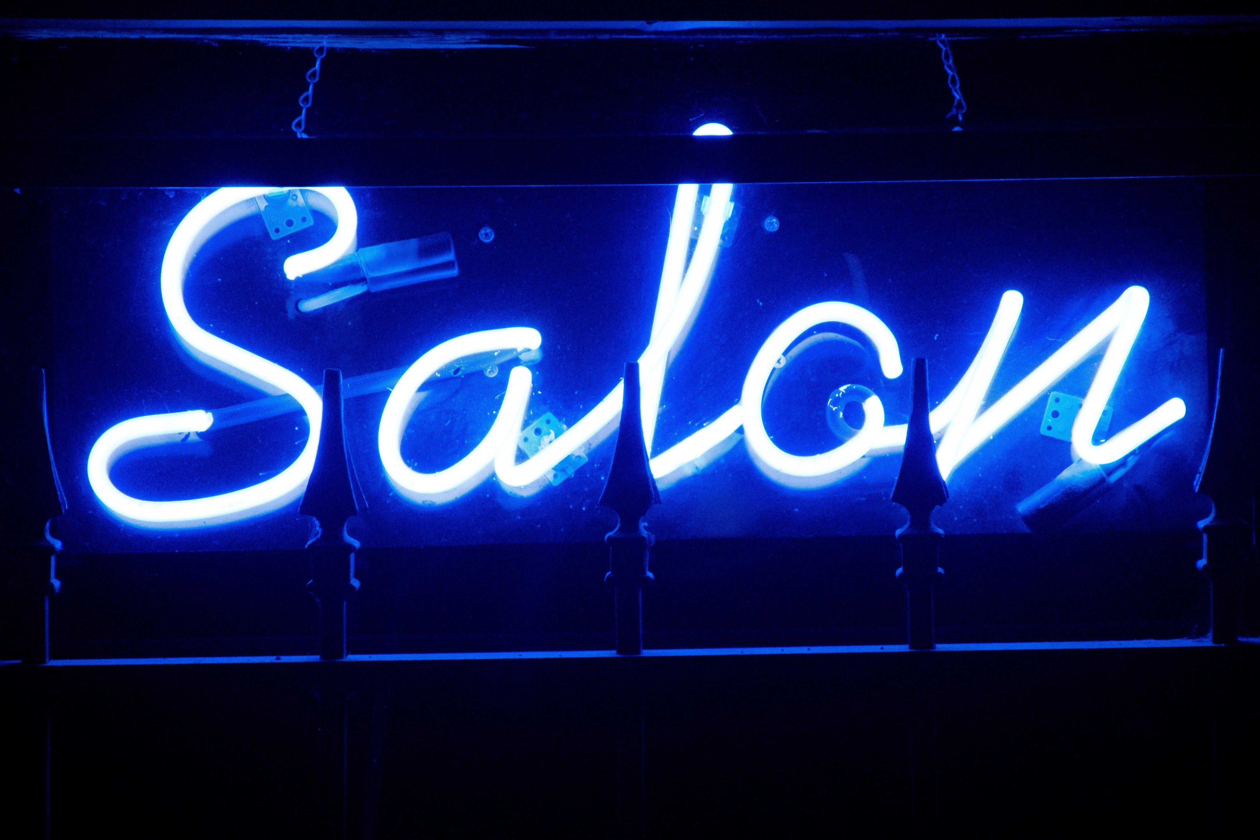 Blue Salon Neon Signage