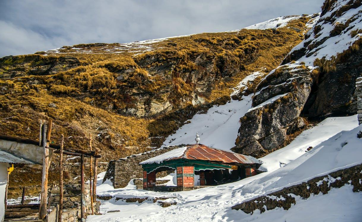 bergen, dagsljus, frost