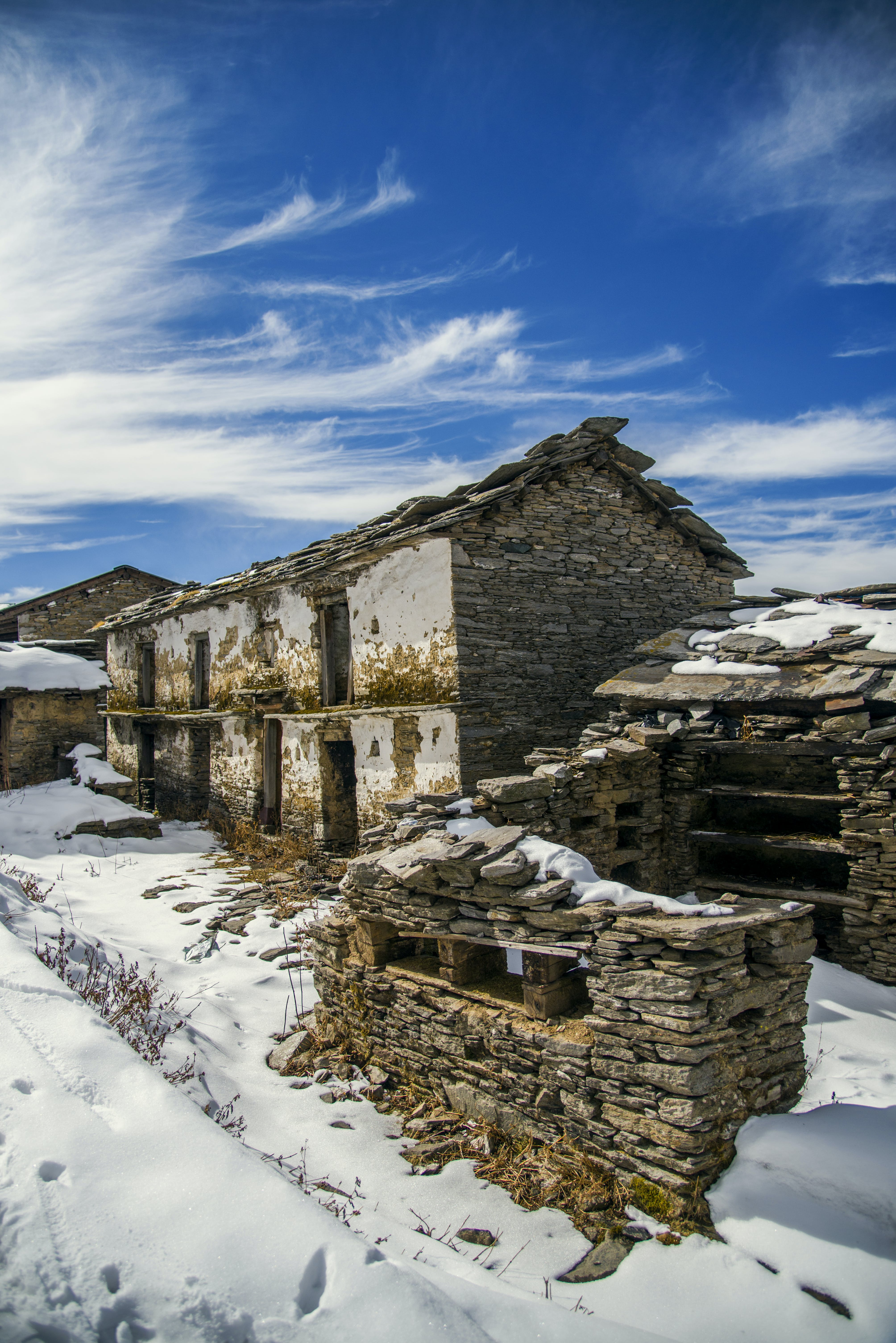 Ruined House on Snow Field