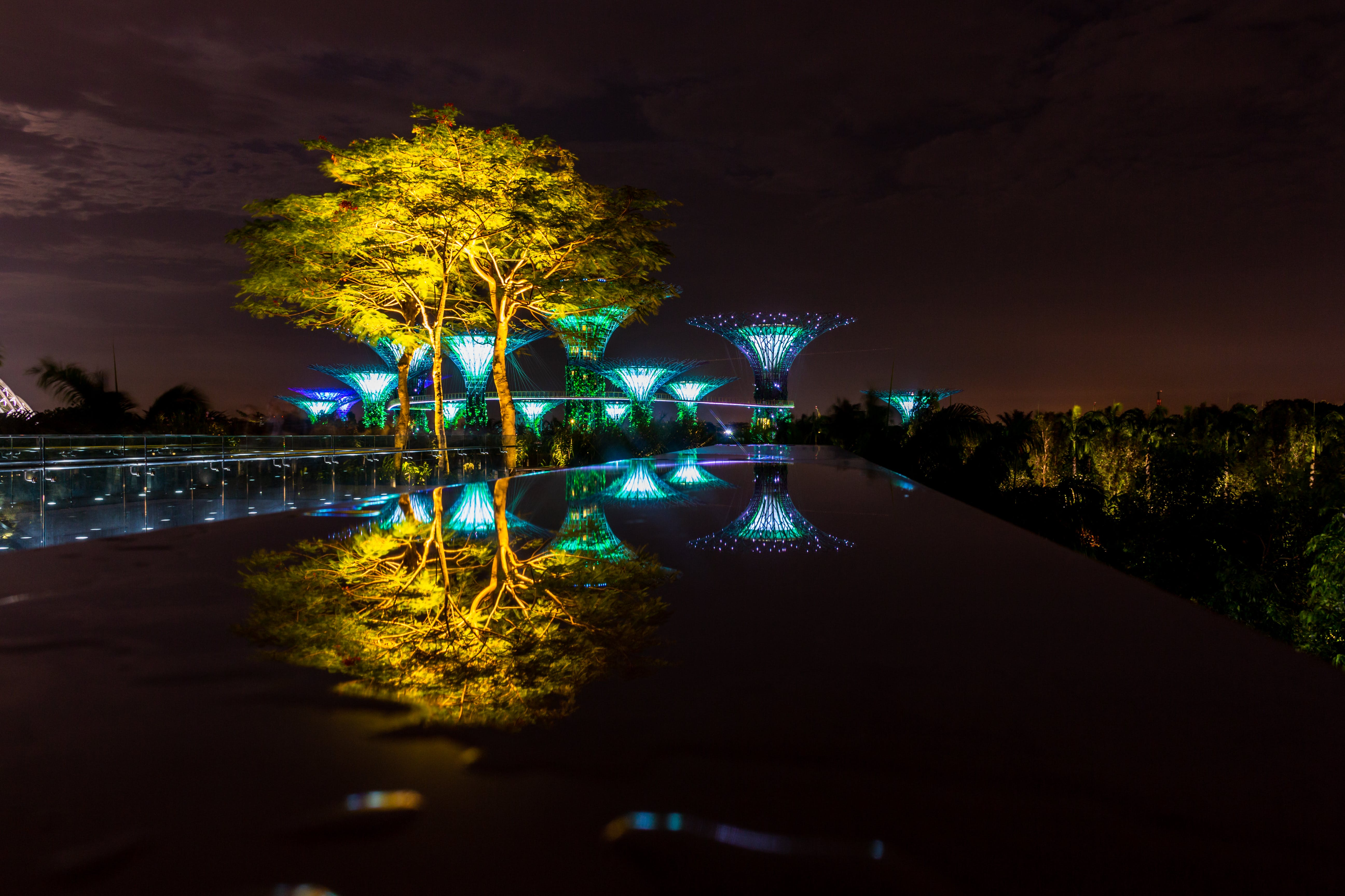 Free stock photo of gardens by the bay, light reflections, long exposure, reflection