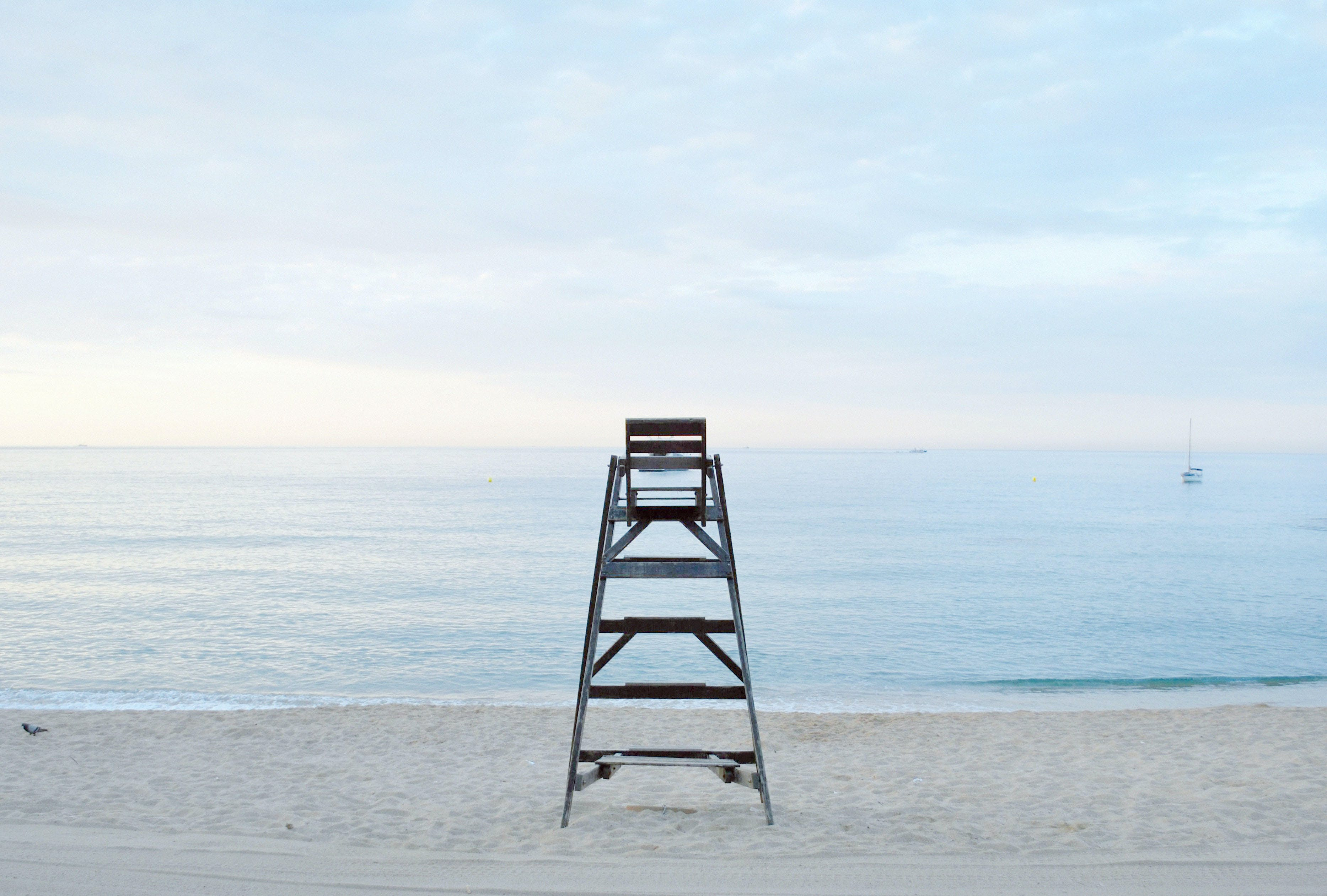 Grey Metal Step Ladder Near Beach during Daytime