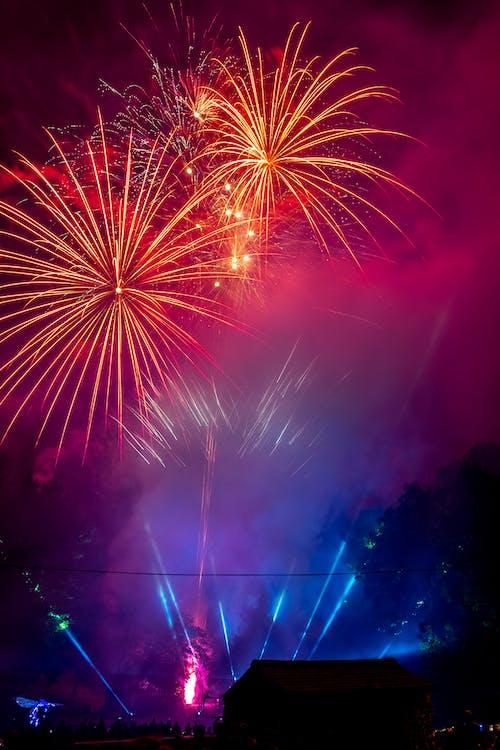nový rok, oheň, ohňostroj