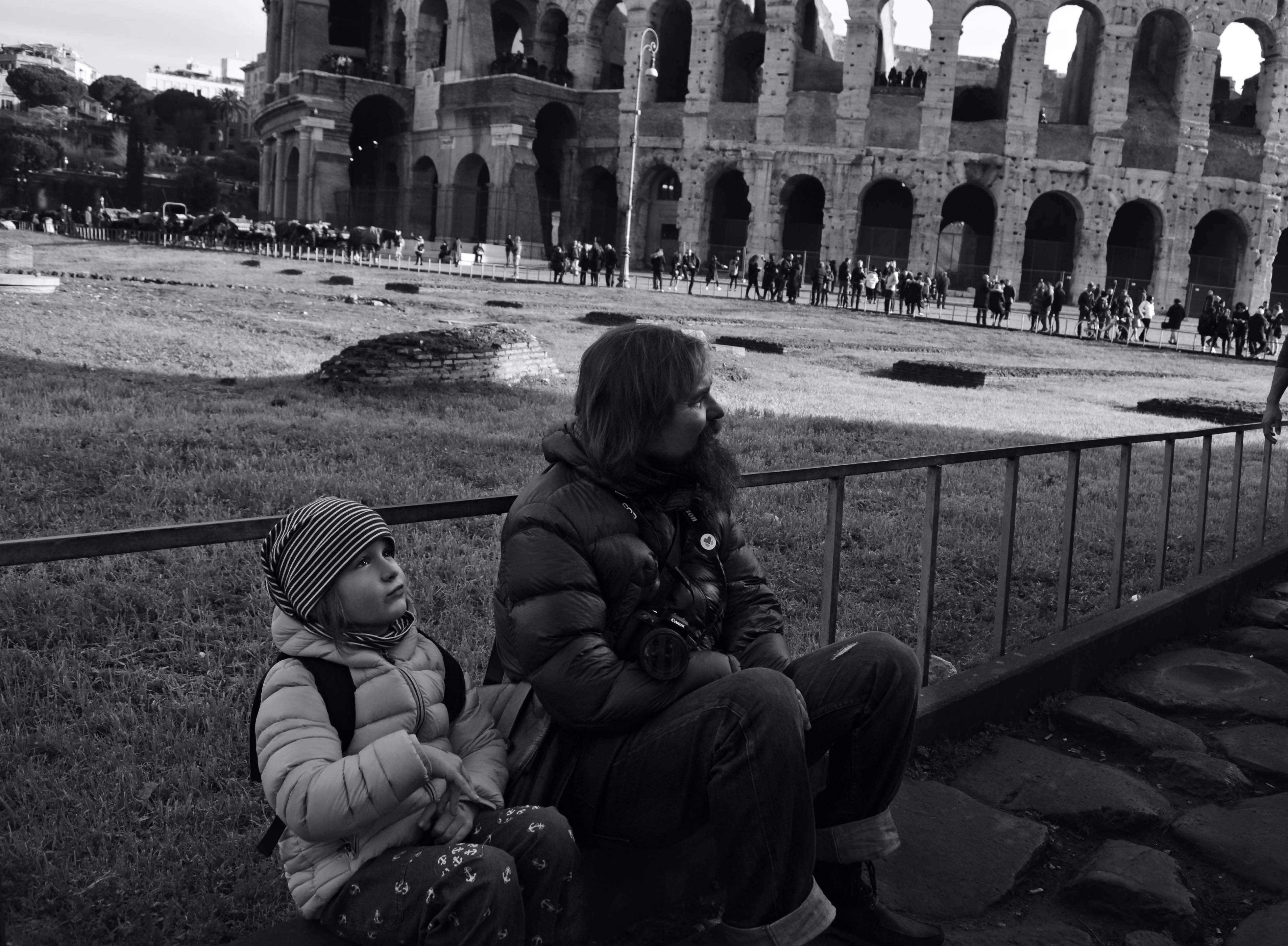 Free stock photo of beautiful girl, black and white, child, Colosseum