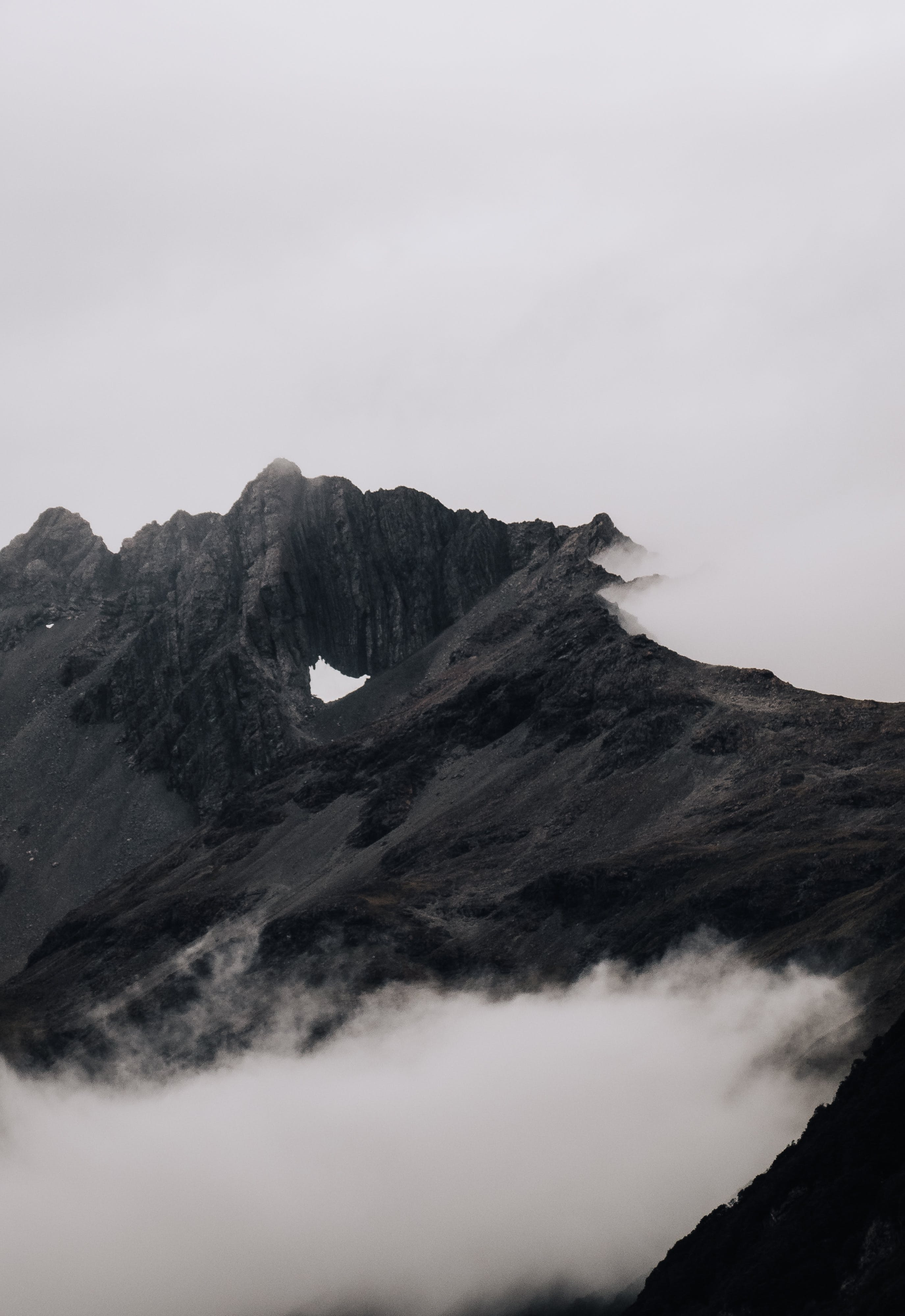 Rock Mountain Covered With Fog