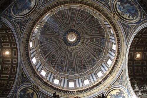 Domed Building Ceiling With Paintings Architectural Photography