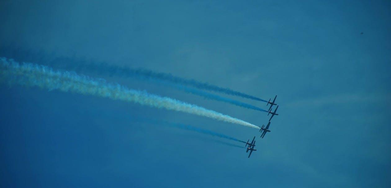 blå, fly, flyging