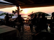 restaurant, sunset, beach