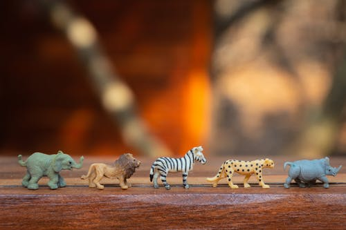 Plastic Animal Toys on Wooden Surface