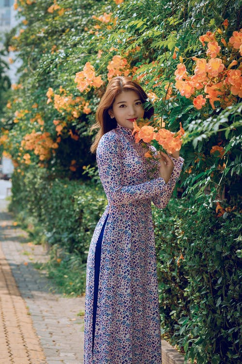 Women's Blue, White, and Purple Long-sleeved Maxi Dress Standing Beside Orange Flowers