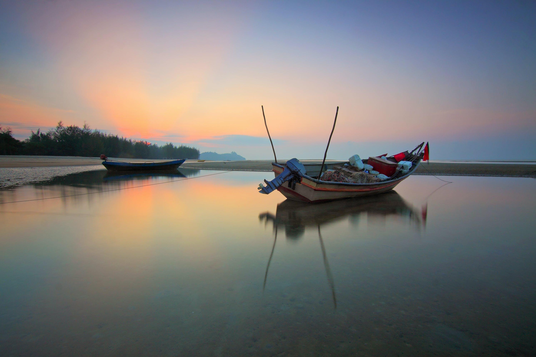 beach, blue, boats