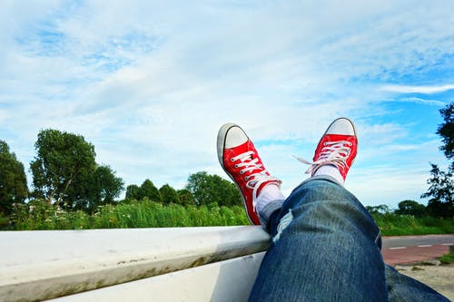 Free stock photo of bench, body, carefree, crossed legs