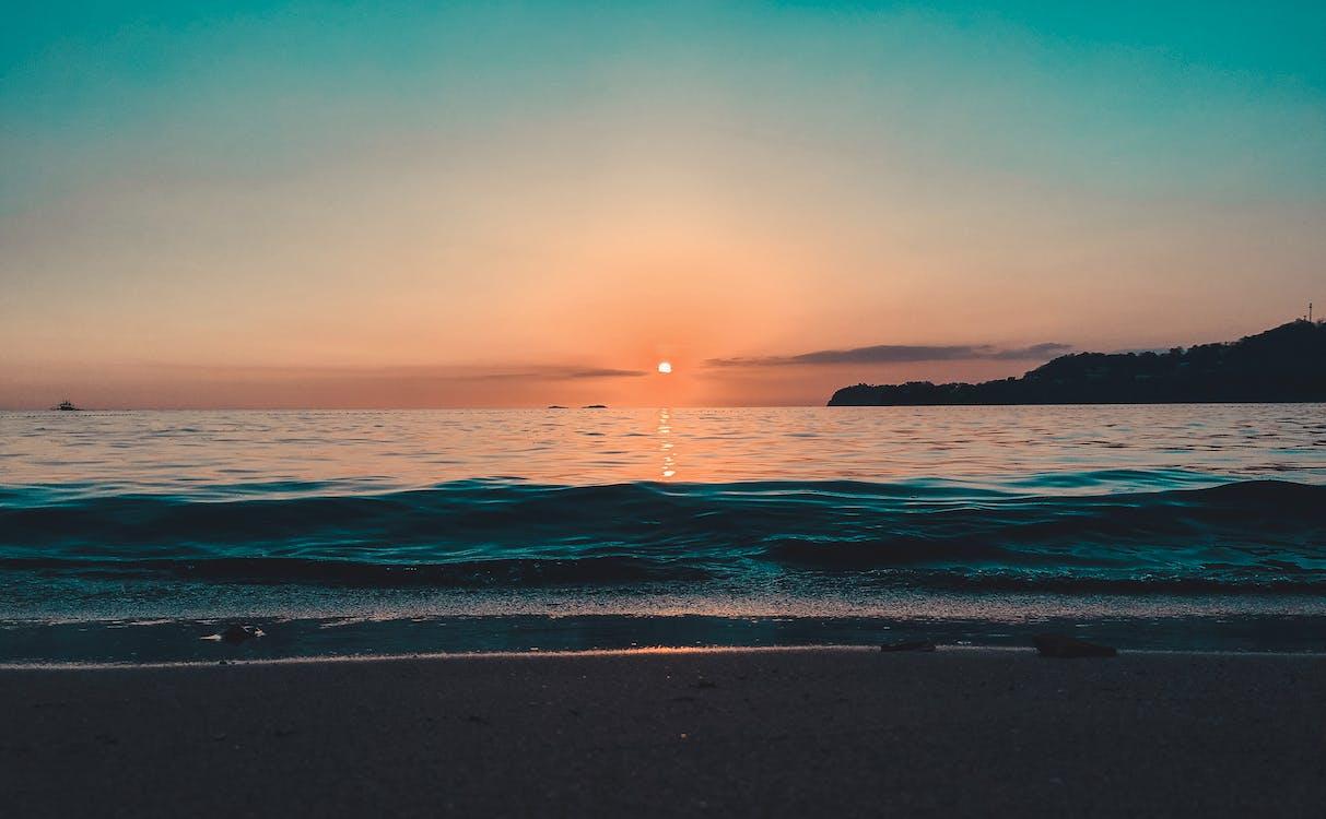 avond, golven, h2o