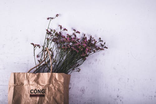 Purple Petaled Flower on Brown Cong Paper Bag
