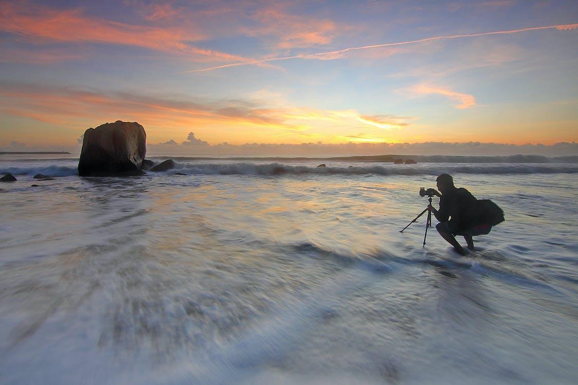 adam, dalgalar, deniz