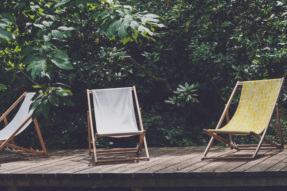 chaises, chaises longues, jardin