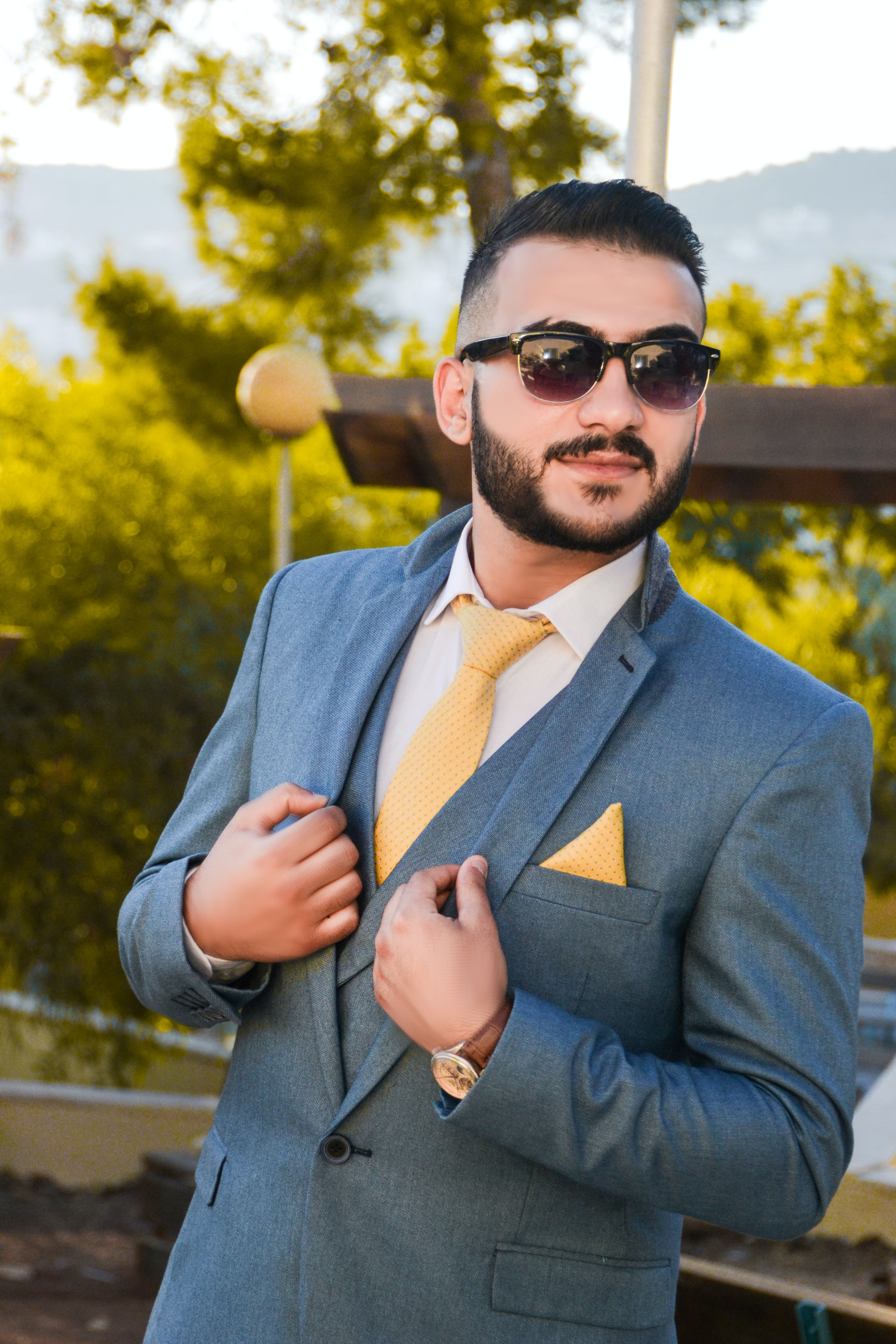 Man Wearing Suit Jacket With Sunglasses