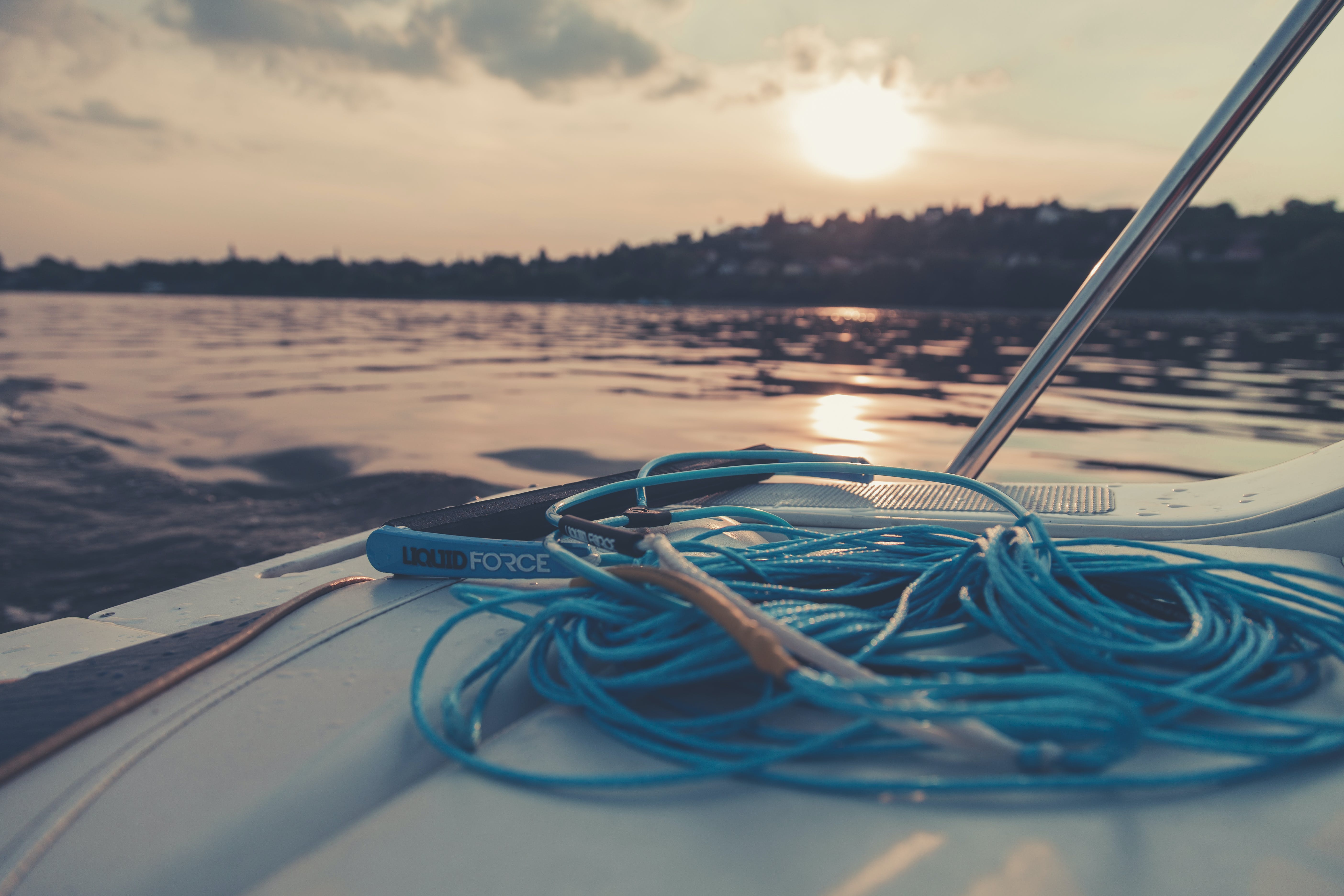 Blue Rope On White Powerboat