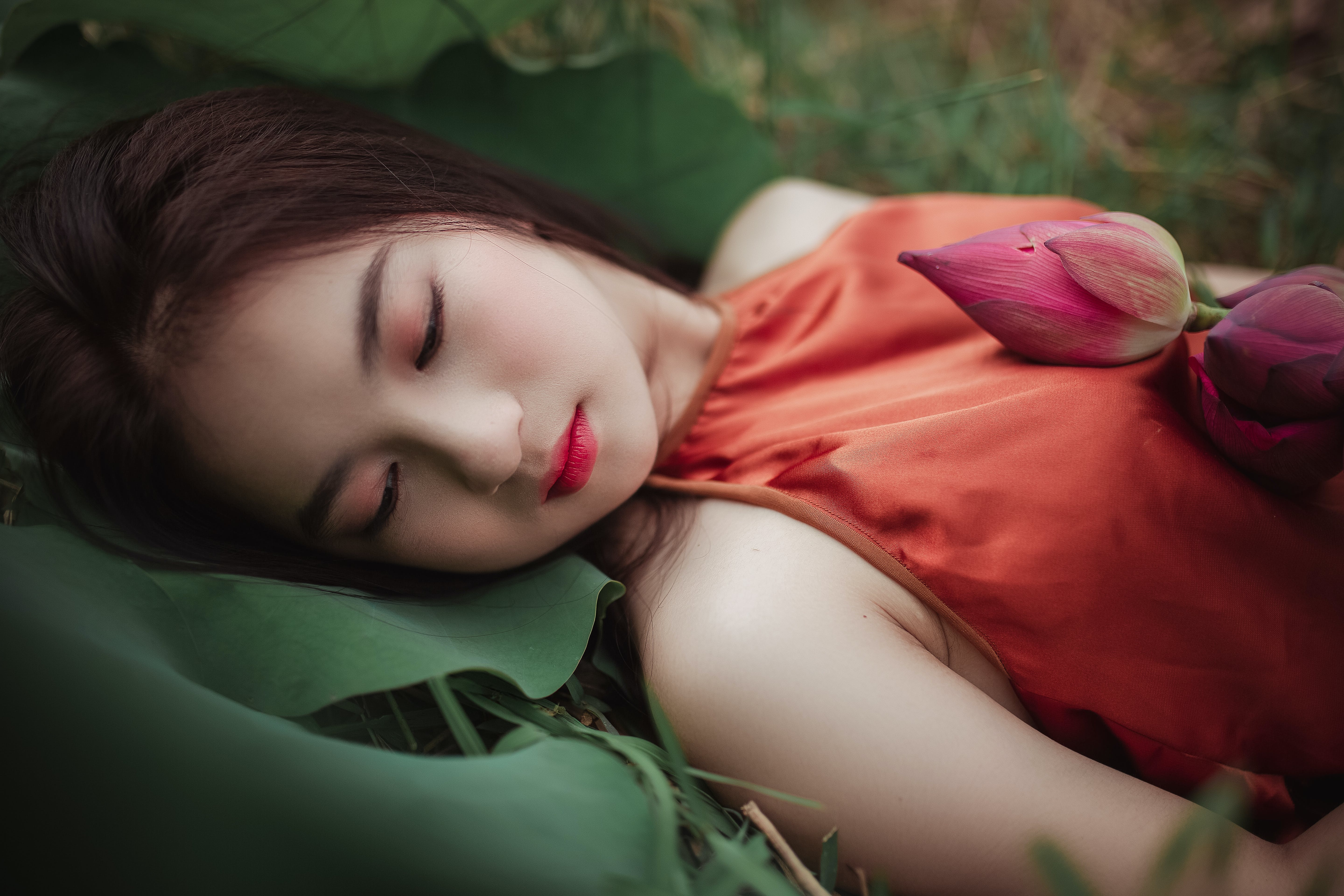 Woman Lying On Green Plant