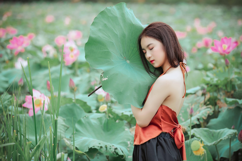 Kostenloses Stock Foto zu asiatin, asiatische frau, bezaubernd, blumen