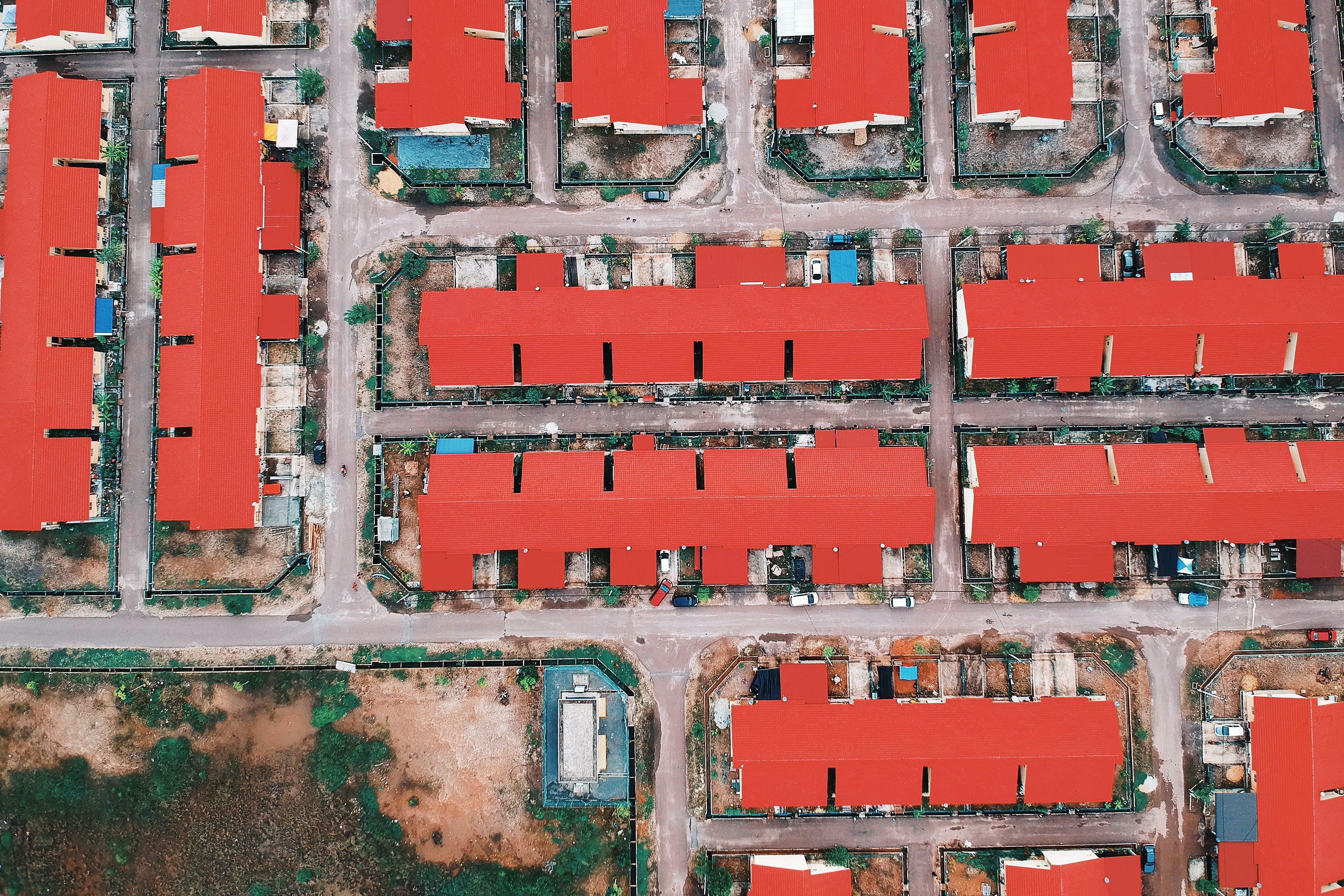 Kostenloses Stock Foto zu dächer, häuser, luftschuß, vogelperspektive