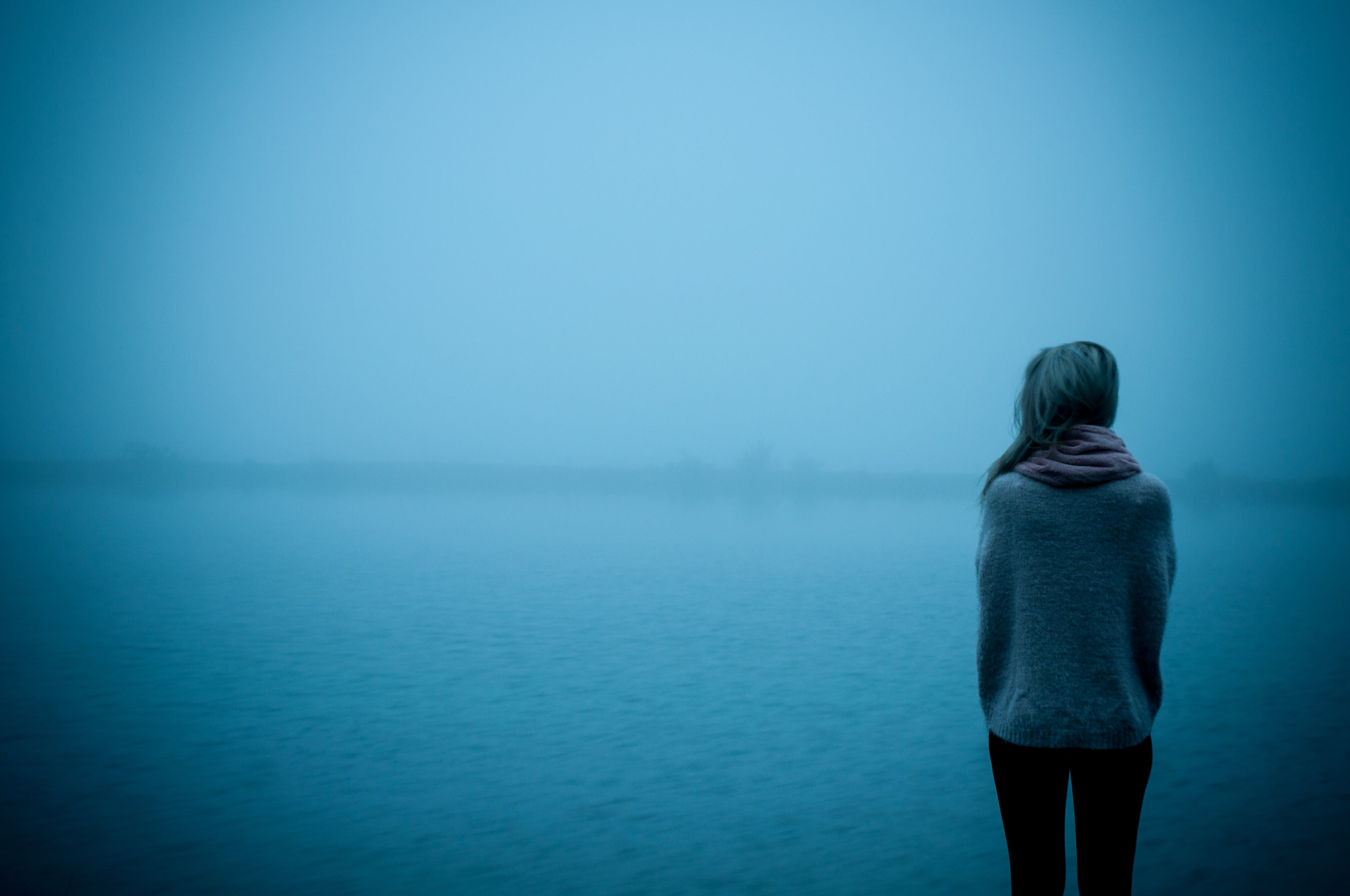 Free stock photo of cold, woman, lake, portrait