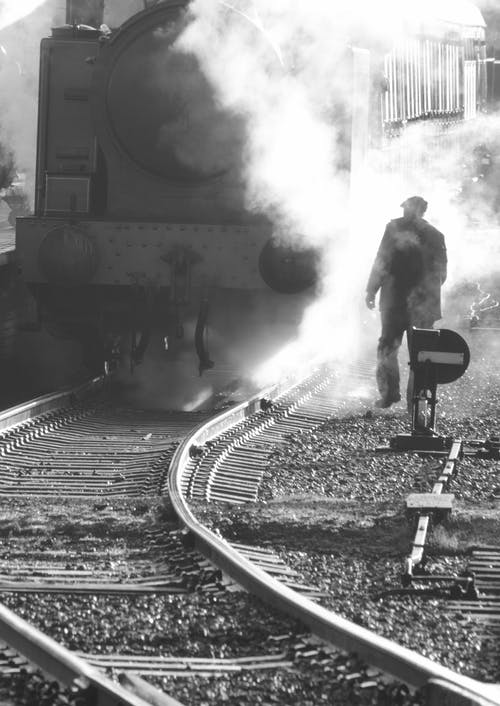 Free stock photo of black&white, black-and-white, engine, rail