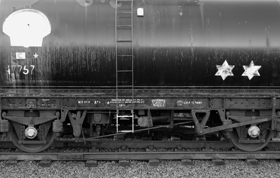 Free stock photo of black-and-white, rocks, train, metal