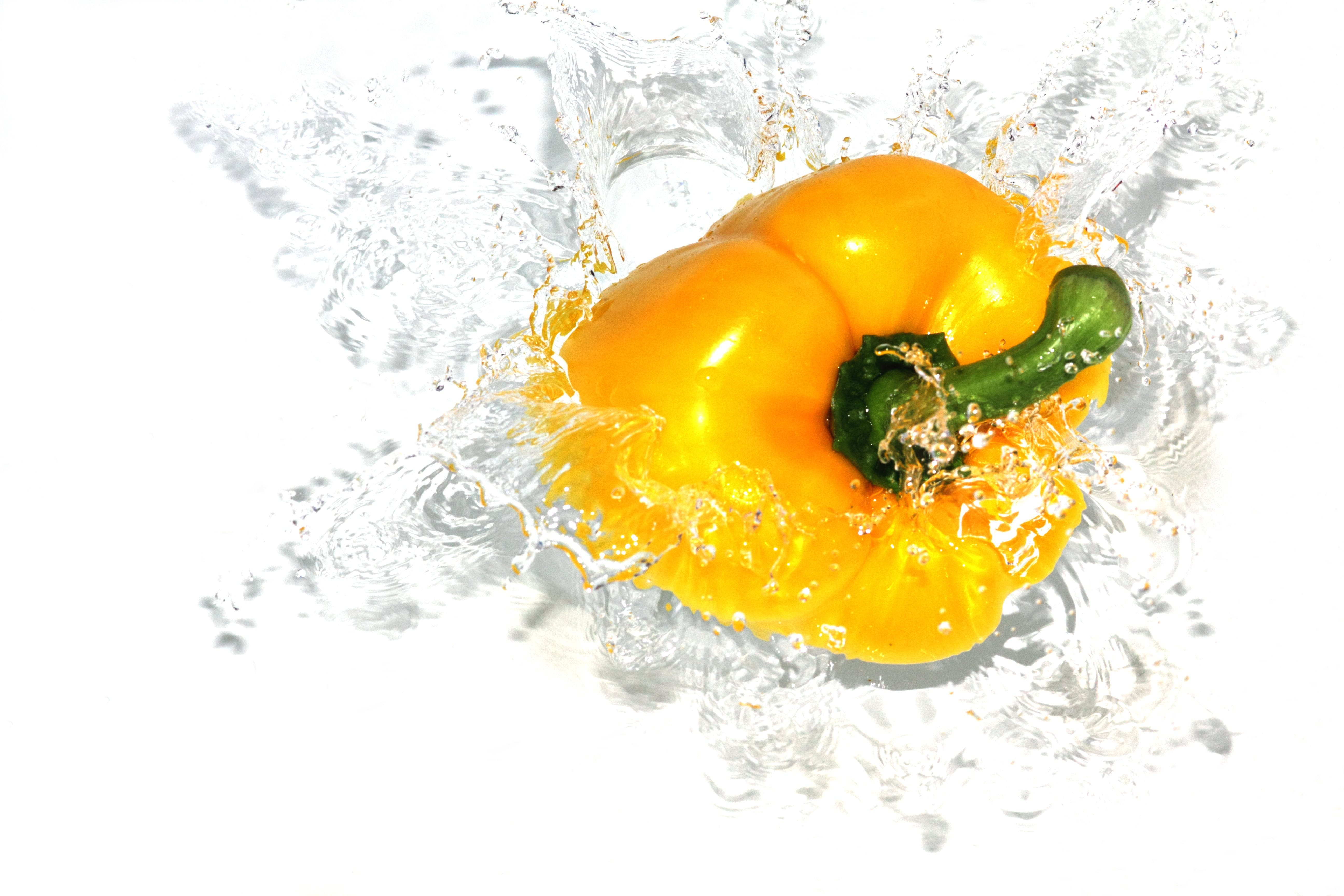 Yellow Bell Pepper Splash Into Water