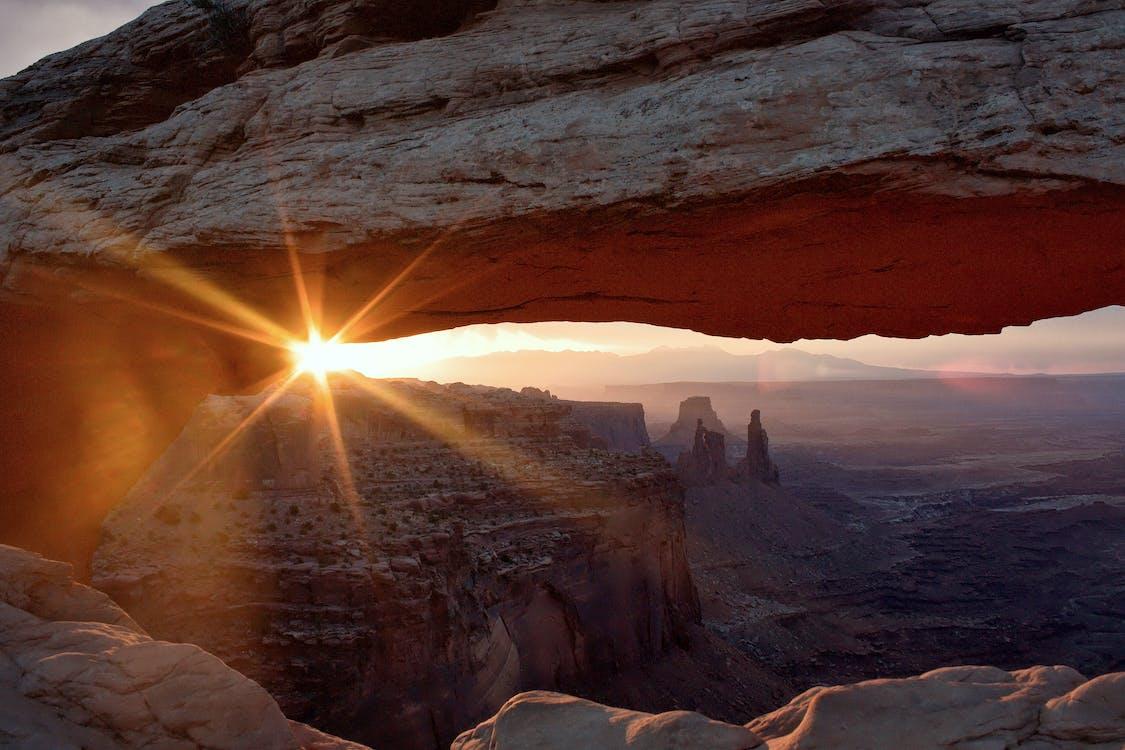 abend, berge, canyon
