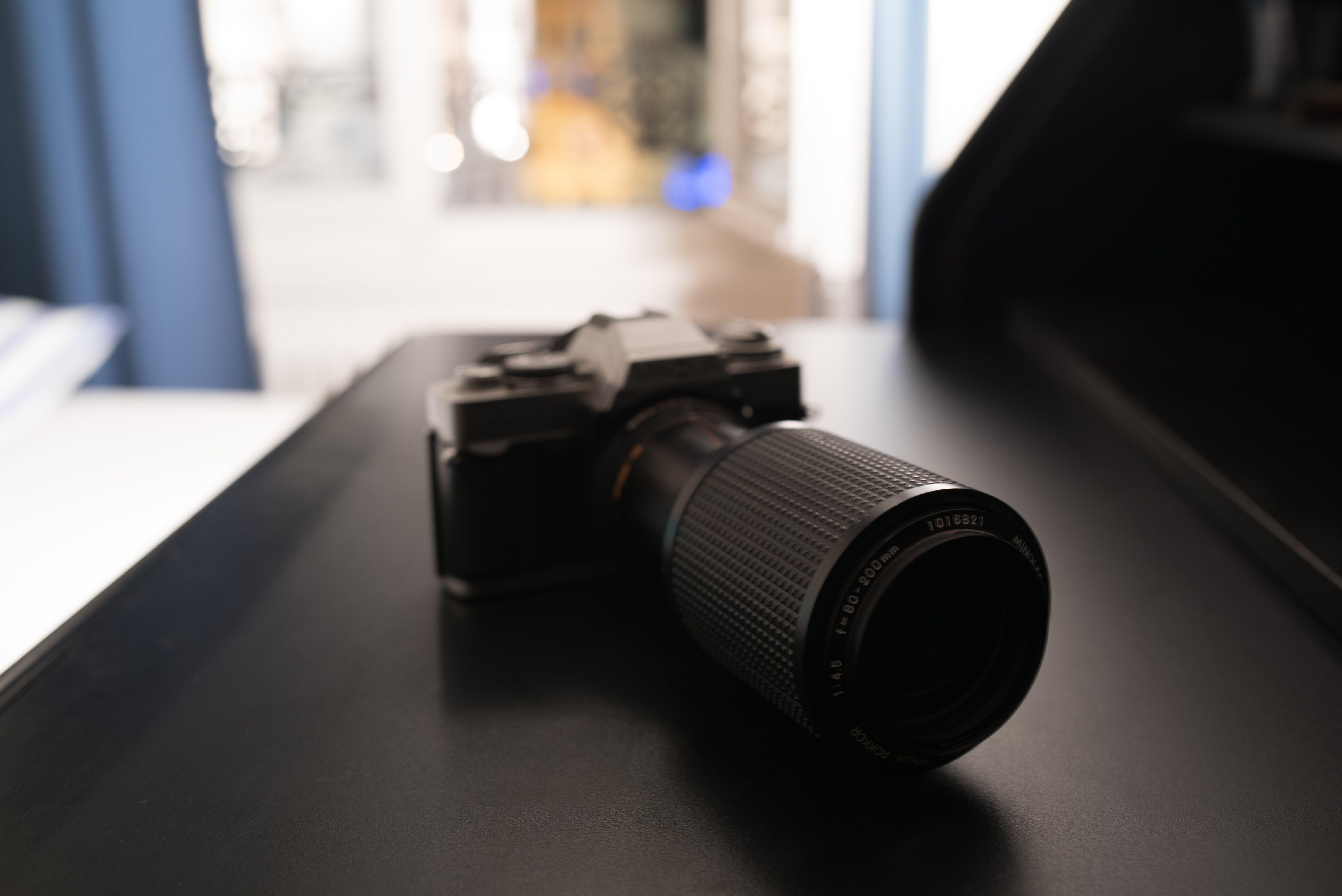 Free stock photo of blur, camera, desk, lens