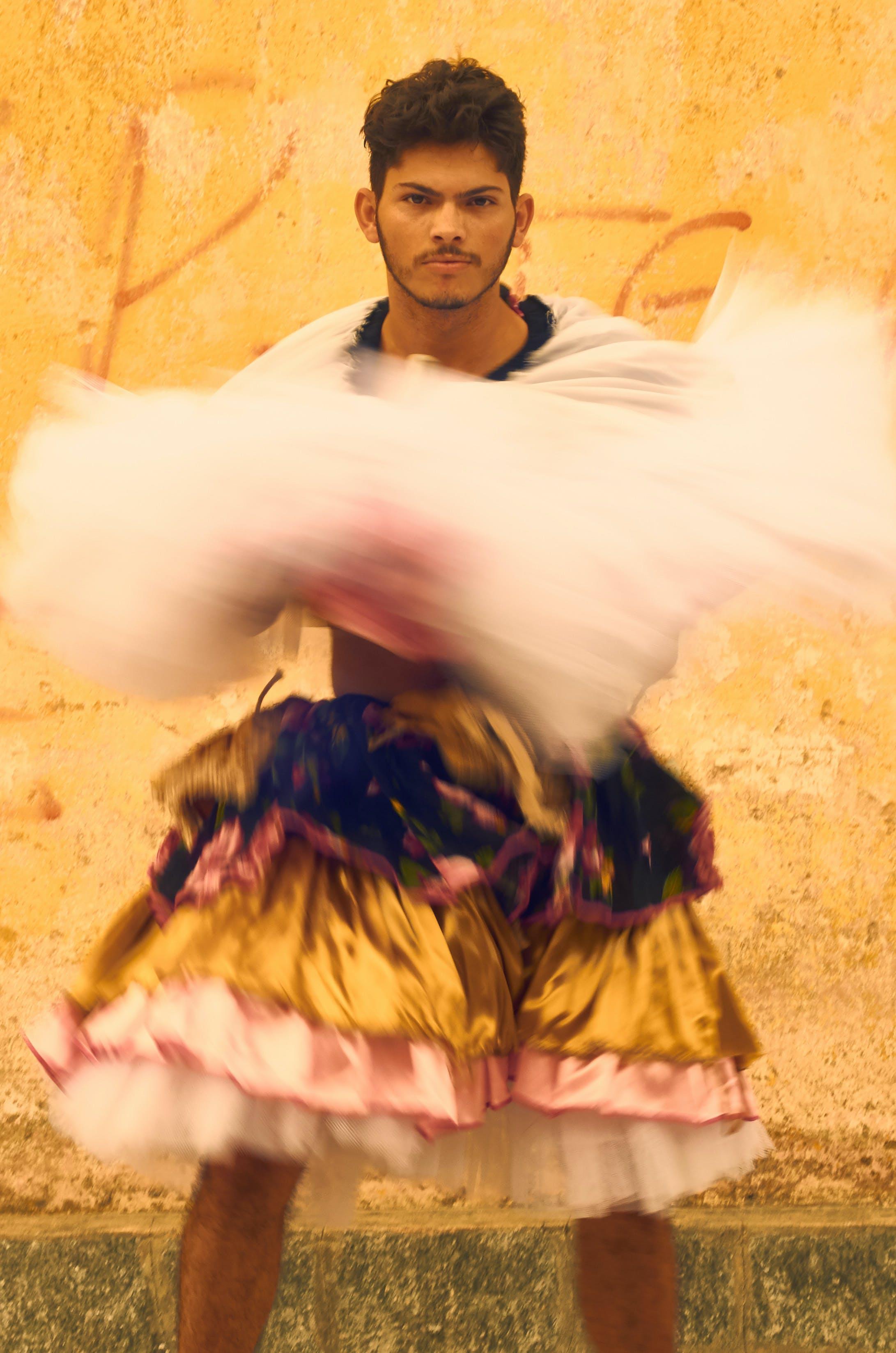 Man Dancing Near Orange Wall