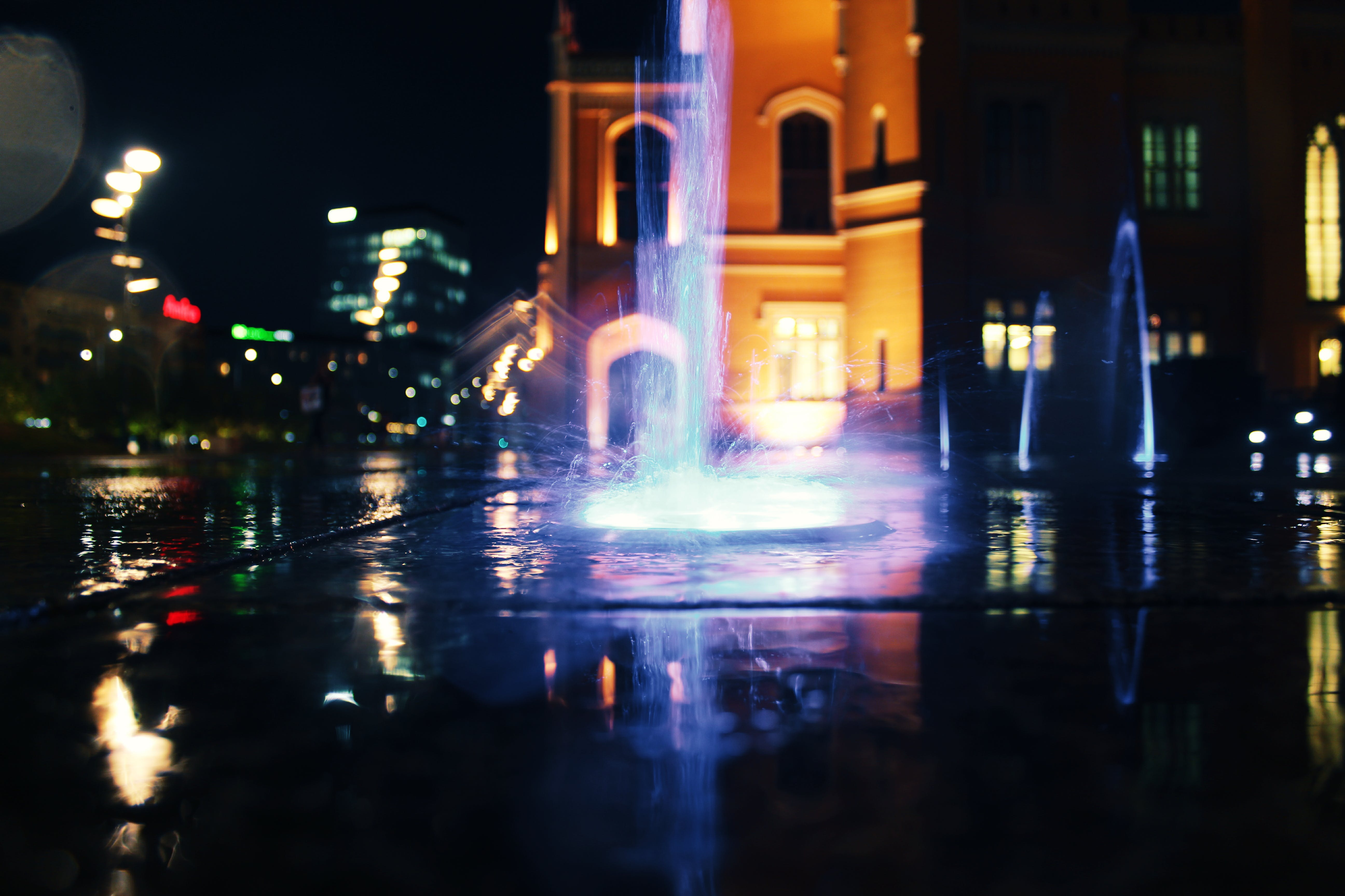 Lighted Water Fountain at Night