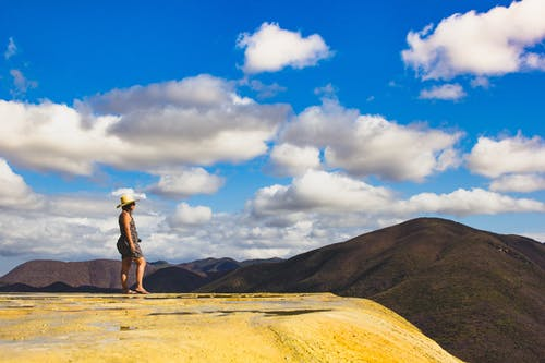 Free stock photo of blue sky, girl, Hierve el Agua, mexico