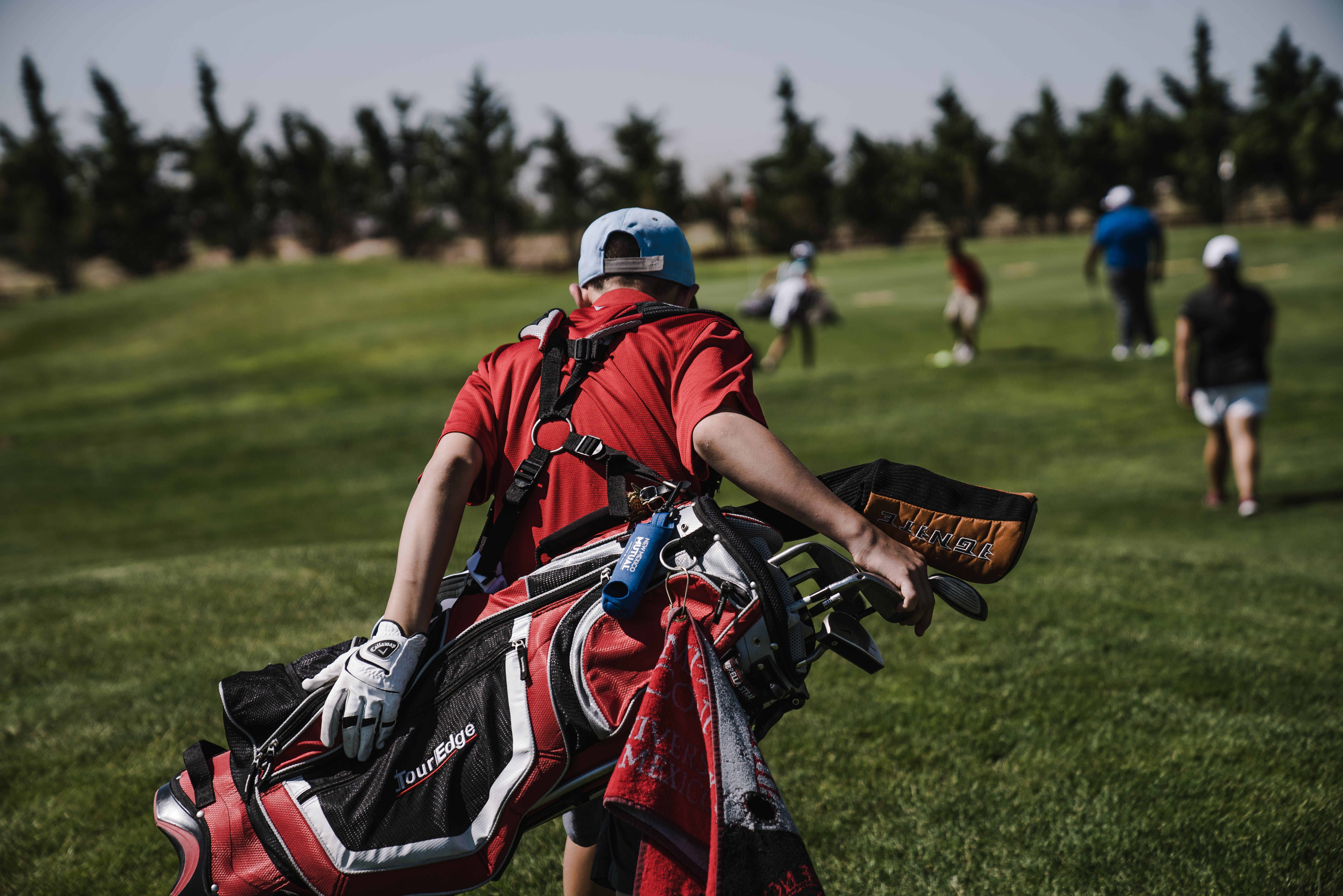 Man Walking Carrying Black and Red Golf Bag on Green Grass Field