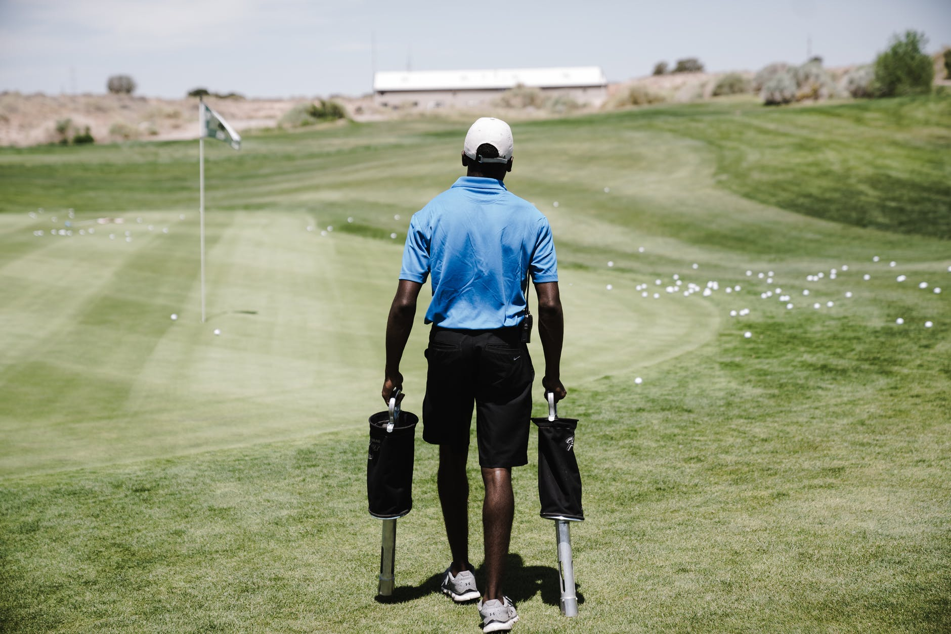 man in the golf field