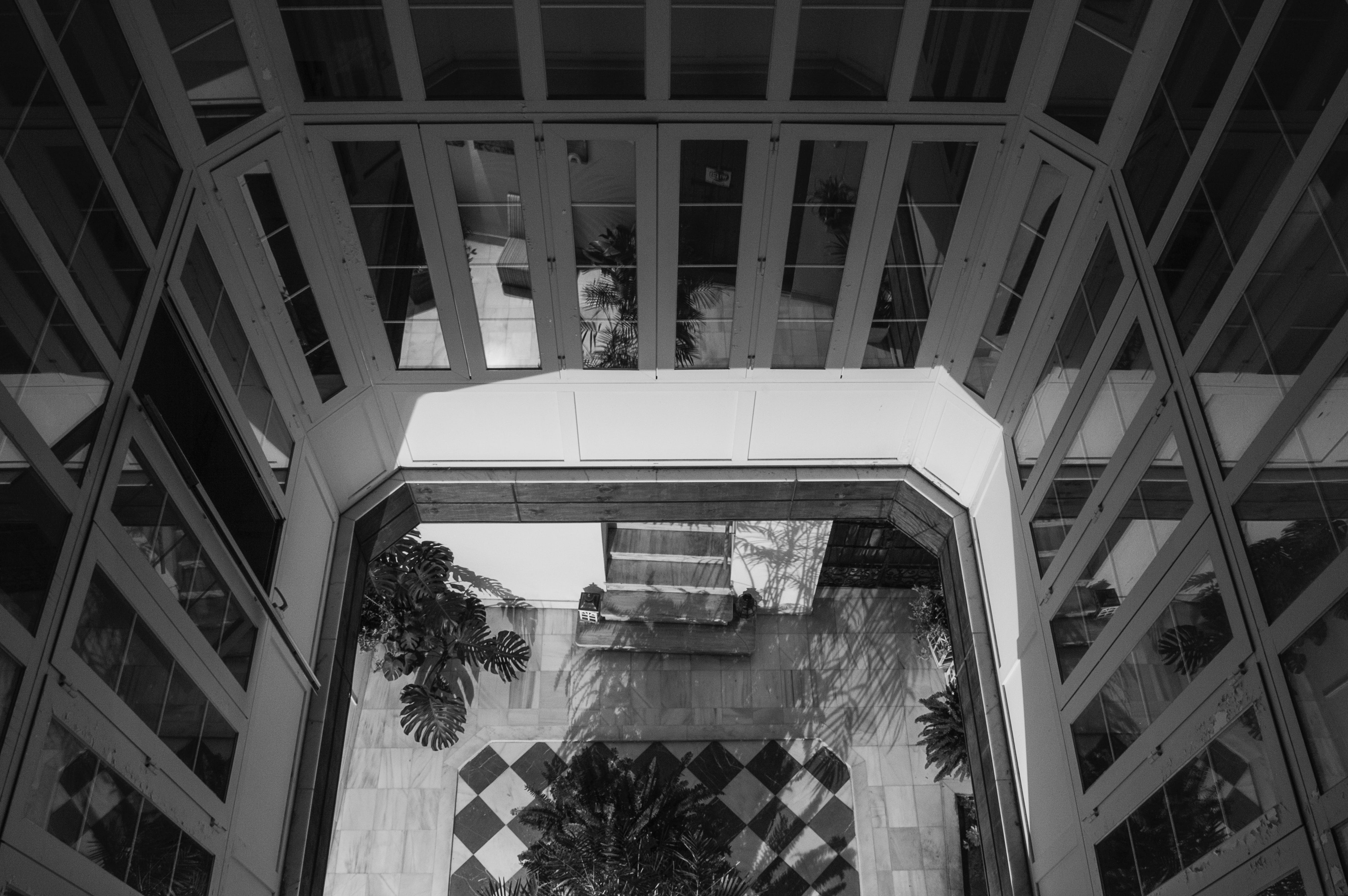 Free stock photo of black-and-white, hall, hotel, patio