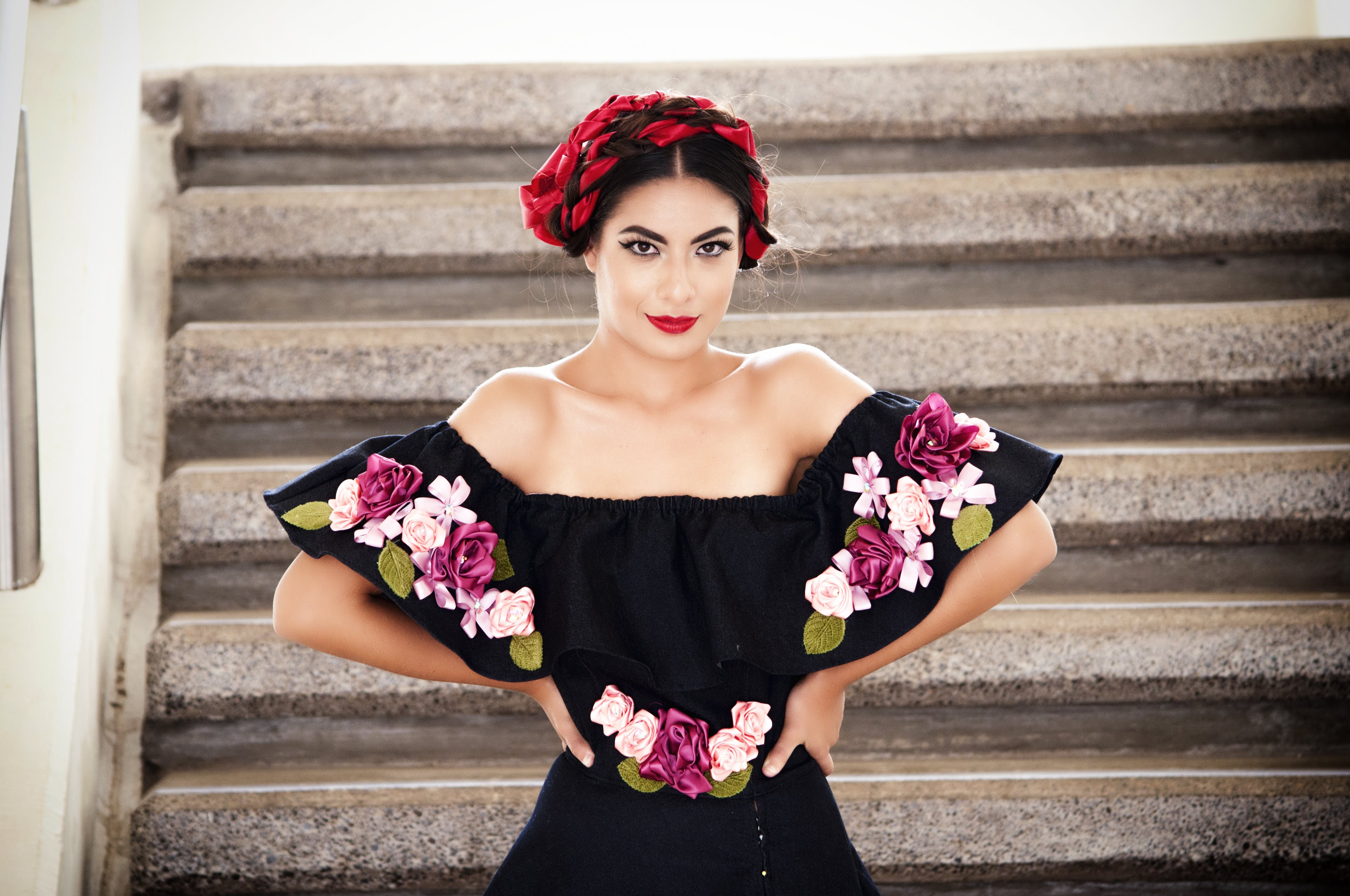 Woman Wearing Black And Pink Floral Blouse