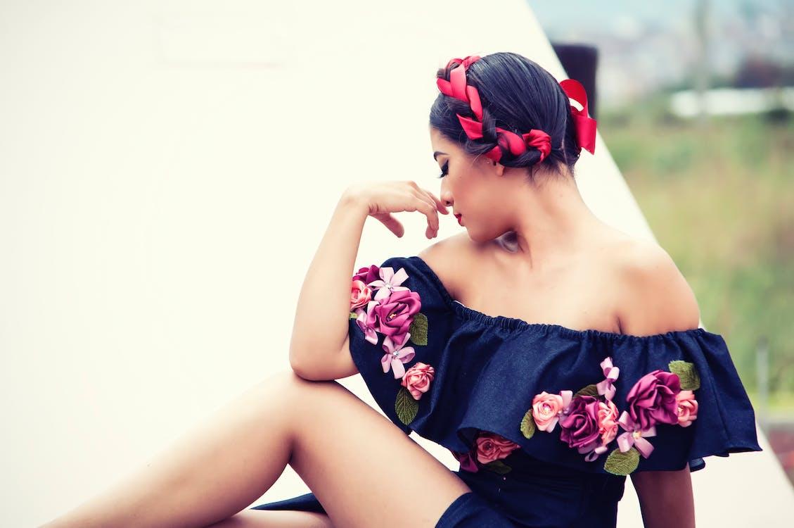 holka, krásný, květiny