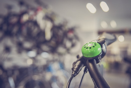 Tilt Shift Lens Photography Green Bicycle Bell Switch
