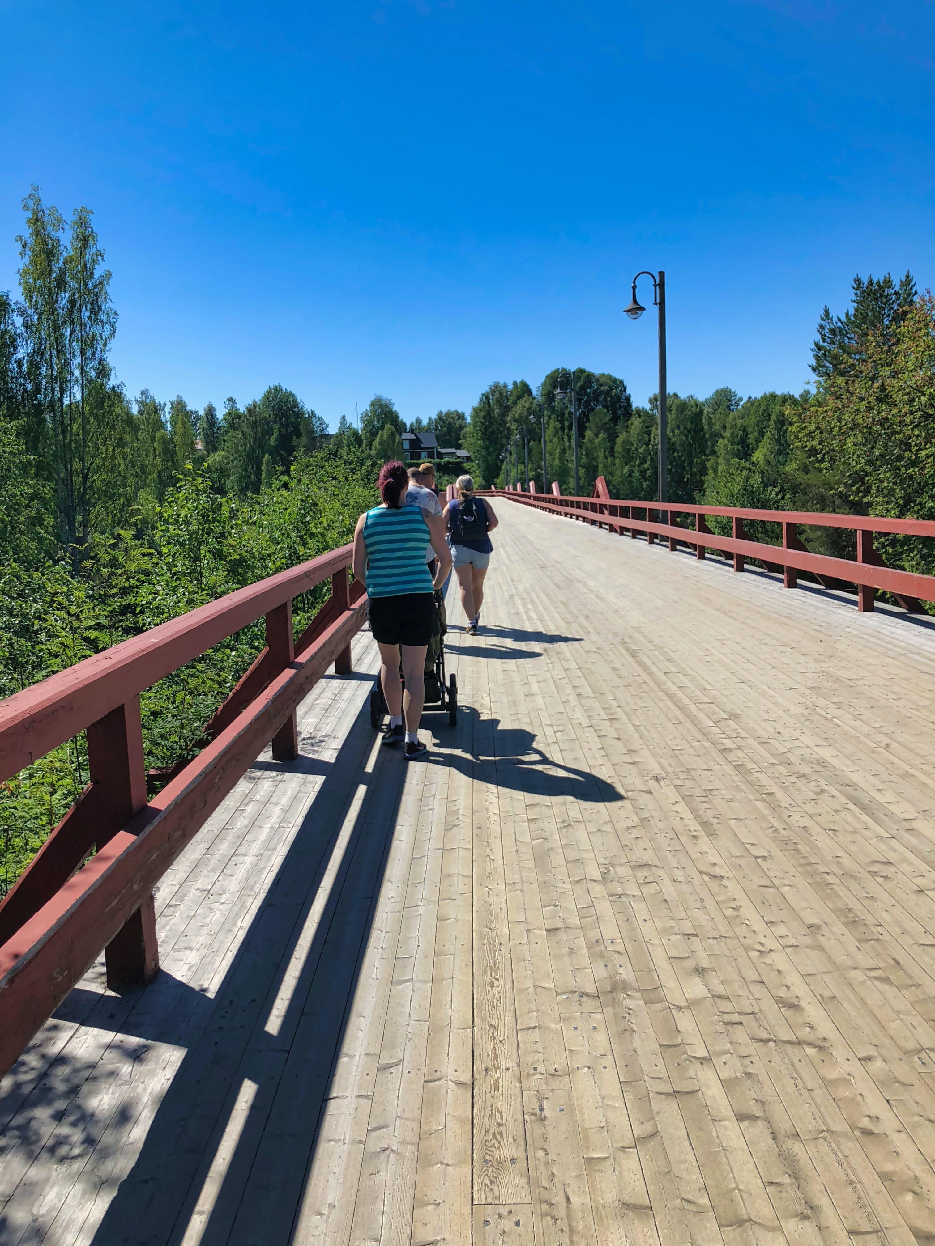 Free stock photo of bridge, people walking, wood
